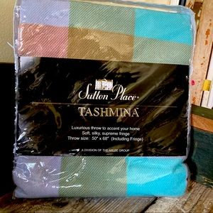 NWT Colorful Plaid Throw Blanket Turquoise Green